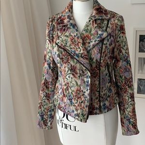 Free People Floral Tapestry Moto Jacket Size 6